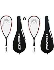 Head Nano Ti.110 Titan-Squashschläger, mit 3 Dunlop-Squashbällen, 2 Stück