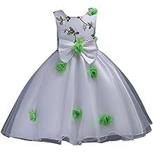 Vestido de Flores Boda Niña Elegante Vestido de Princesa Infantil Tul Imprimir Tutu Fiesta de cumpleaños Vestidos