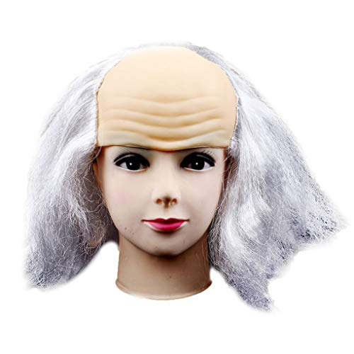 Bald Partei Kostüm Auch - Lindahaot Halloween Bald Perücke Lustige alte Dame Perücken Maskerade der erste April Halloween-Thema-Partei Props Kopfmaske grau-weiß