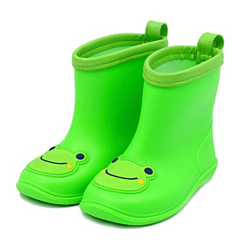 Baiyouli PVC Printed Waterproof Short Rain Boots for Toddler Little Big Kids Sizes 13 to 18 & Ages 1 to 5