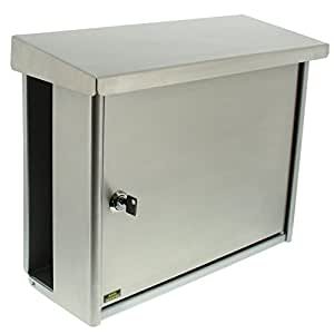 burg w chter edelstahl briefkasten mit integriertem zeitungsfach a4 einwurf format edelstahl. Black Bedroom Furniture Sets. Home Design Ideas