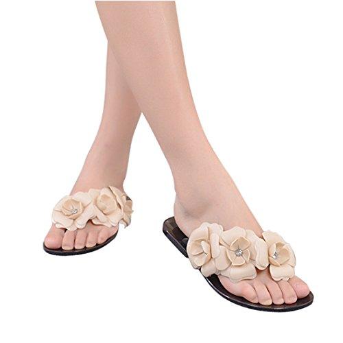 Vertvie Mädchen Damen Süße Sommer Hausschuhe Badeschuhe Komfort Kamelie Blumen mit Strass flache Sandalen Flip-Flops Pantoffeln Zehntrenner Strandschuhe Schwarz