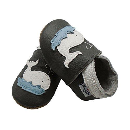 Mejale Karikatur Delphin Leder Babyschuhe Lauflernschuhe Krabbelschuhe Kleinkind Kinderschuhe Hausschuhe Dunkelgrau