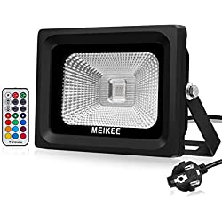 MEIKEE Projecteur led RGB extérieur ou intérieur 10W Lampe d'ambiance multicolore 360° contrôlé 16 couleurs 4 modes et 6 choix de luminosité Eclairage décoratif pour Noël, Mariage et Anniversaire