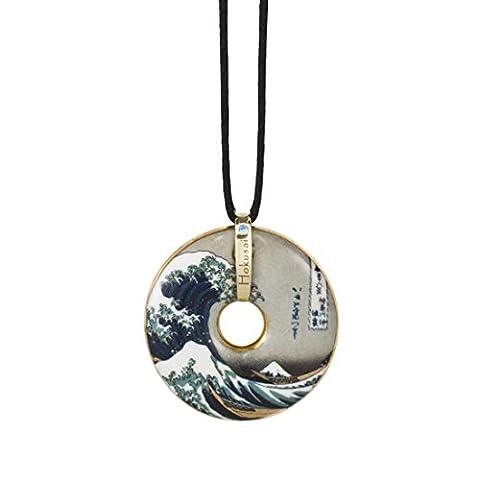 Goebel, Porzellan-Kette, Katsushika Hokusai, Die Welle, Vergoldet, Textilband mit Verschluss, Ø 5 cm, (Porzellan Stoff)
