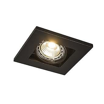 QAZQA Design / Moderne / Spot à encastrer / encastrables Qure 1 GU10 noir Aluminium Carré Compatible pour LED GU10 Max. 1 x 50 Watt / Luminaire / Lumiere / Éclairage / intérieur / Chambre á coucher /