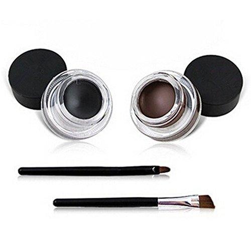 Lumanuby 2X Etanche Gel Eyeliner Eye Liner Brosse Cosmétiques Brush Set(2x Eyeliner Gel+2x brosses) Noir/Brun