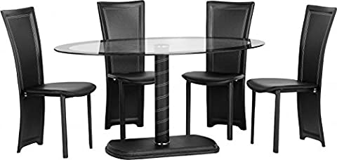 Cameo Oval Dining Set in Clear Glass/Black Border/Black/Black Faux Leather