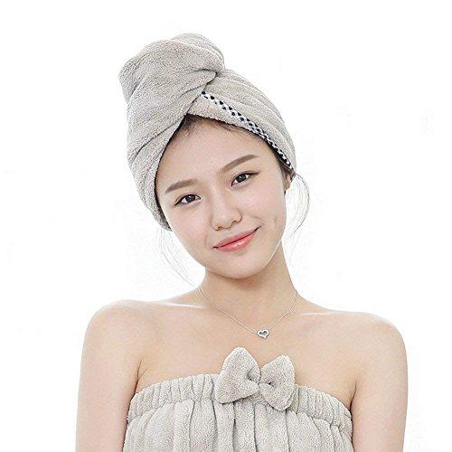 Microfaser Haar Handtuch - Trocknen Wrap Handtuch Trockenmütze Luxus Turban Haar Handtuch Soft Thicker Handtuch Taschen Coral Velvet Wet Hair Fast Dry