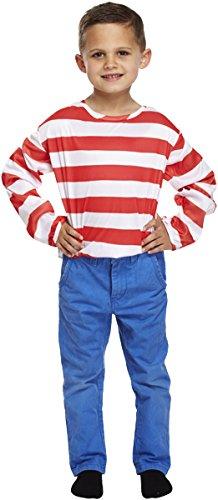 Fancy Dress child Striped jumper Red/White Med 7-9YR