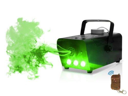 LED Nebelmaschine mit Flammeneffekt Flammenwerfer ( mit 250 ml Tank, Durchfluss des Nebel 7 m³/min, Fernbedienung mit 3 m Kabel und Halterung Wand und Decke, 3 Minuten Aufwärmzeit) (Green)