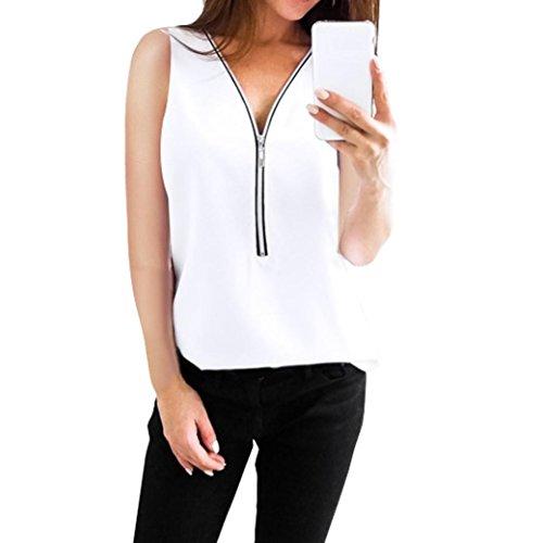 Kobay 9 Farben Damen Reißverschluss Ärmellos Lässige Weste Top Bluse Sommer lose T-Shirts(Large,Weiß)