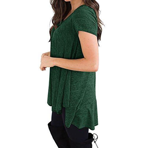 Là Vestmon Camicia di Cotone Camicetta Donna Girocollo a Maniche Corte Girocollo Irregolare Versione Allentata Sottile Era Sottile Verde