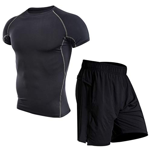 ESAILQ Herren Fitness Bodybuilding Skin Eng Trocknendes Kurzarmhemd Tops Hosenanzug(X-Large,Grau)