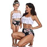 JiaMeng Parent-Child Rüschenblumendruck Split Badeanzug Badebekleidung Bade Bikini Set Kleinkind Baby Mädchen Damen Weiß 2 Stück