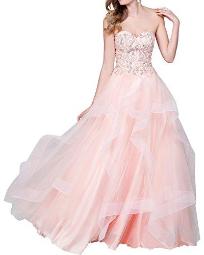 La_mia Braut Rosa Langes Prinzess Abendkleider Abiballkleider Abschlussballkleider Promkleider mit steine Rosa