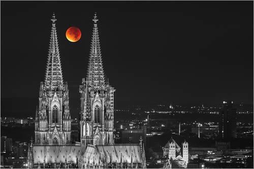 Unbekannt Leinwandbild 120 x 80 cm: Blutroter Mond über dem Kölner Dom von rclassen - fertiges Wandbild, Bild auf Keilrahmen, Fertigbild auf echter Leinwand, Leinwanddruck (Mond Kirche Auf Dem)