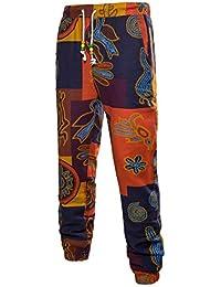 QIYUN.Z Pantalones De Harem De Algodón Holgados Del Hippie De Los Hombres Del Boho Con Los Bolsillos - Diseño De La Pintura De La…