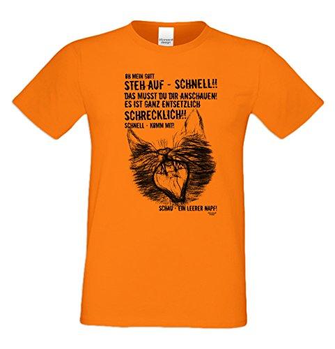 Geschenk für Katzenfreunde :-: Motiv T-Shirt Katzen :-: Ein leerer Napf :-: Geschenkidee für Tier-Freunde zum Geburtstag Vatertag Weihnachten :-: Farbe: orange Orange