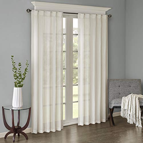 Sheer Curtains for Bedroom, Modern Contemporary White Window Curtain for Kitchen, Harper Solid Fabric Curtain, 42