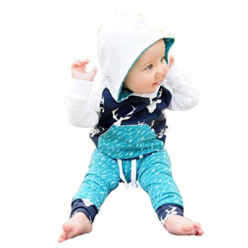 Kinderbekleidung Kinder Set Winter Btruely Unisex Langarm Baby Clothes Set Hoodie Pullover + Hosen Outfits Nettes Rotwild Gedruckt Kleinkind Säugling Baby Set (3T, Blau) (Blau Fußsack Bugaboo)