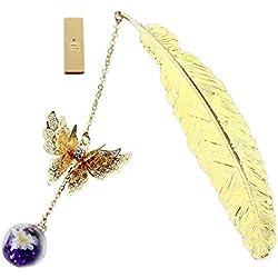 ETBOTU Retro - Marcapáginas con diseño vintage de plumas y mariposas metálicas, color Golden feather purple diamond white flower