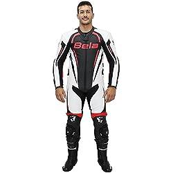 Traje de cuero para moto Bela Maverick monos de piel para moto (50, Blanco / negro / rojo flúor)