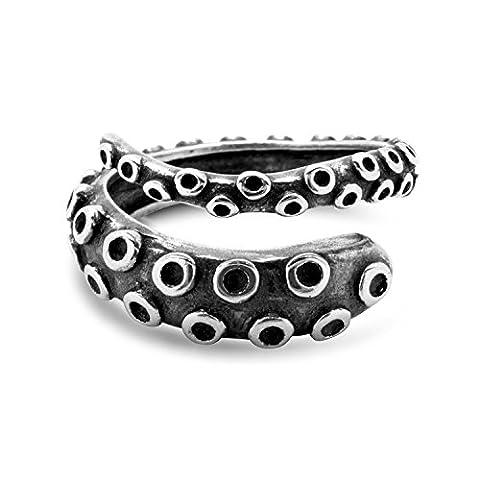 Oktopus Tentakel Ring Größenverstellbar by Serebra Jewelry (Dunkel)