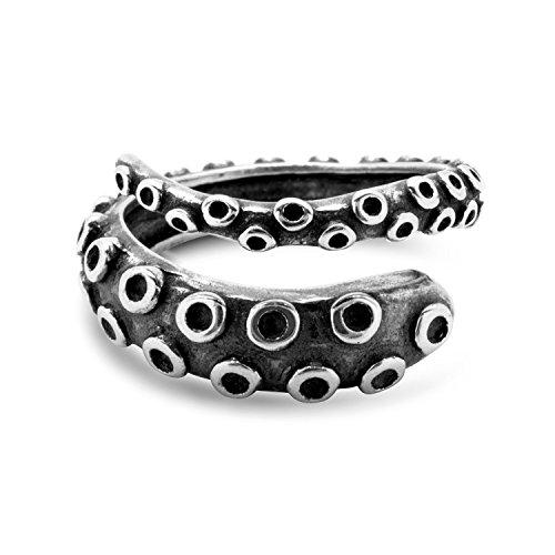 Oktopus Tentakel Ring Größenverstellbar by Serebra Jewelry (Dunkel) - See Tier