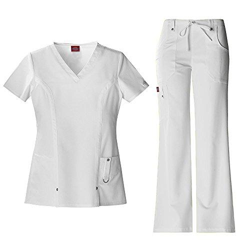 Xtreme Stretch Damen 82851 V-Neck Top & 82011 Kordelzug Hose Medical Uniform Scrub Set (Wei? - XXX-Large) (Uniform-top Medical)