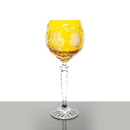 Weinglas, Weinkelch, Römer 'TRAUBE' gelb, 300ml, handgeschliffen, Bleikristall, moderner Style...