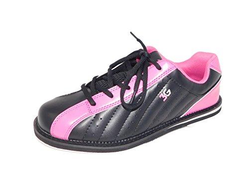 Bowling-Schuhe, 3G Kicks, Damen und Herren, für Rechts- und Linkshänder in 7 Farben Schuhgröße 36-48 (schwarz-pink, 39 (US-D 9))
