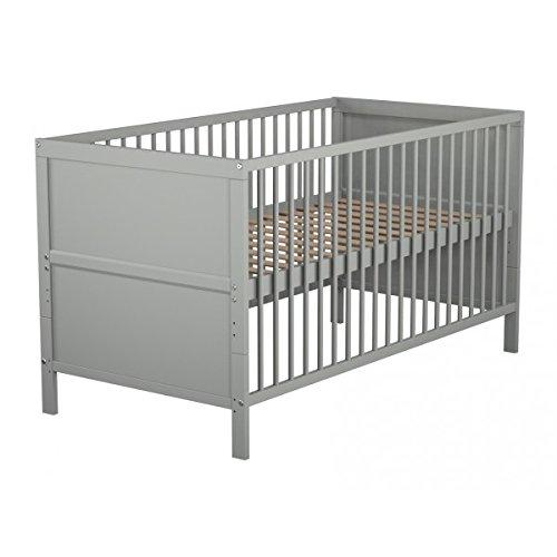 Lit bébé évolutif en bois laqué gris Baby Fox 70 x 140 cm