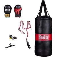 BENLEE Rocky Marciano 199077 - Juego de boxeo para niño compuesto de saco, fijación, comba, guantes y llavero, talla única, color negro