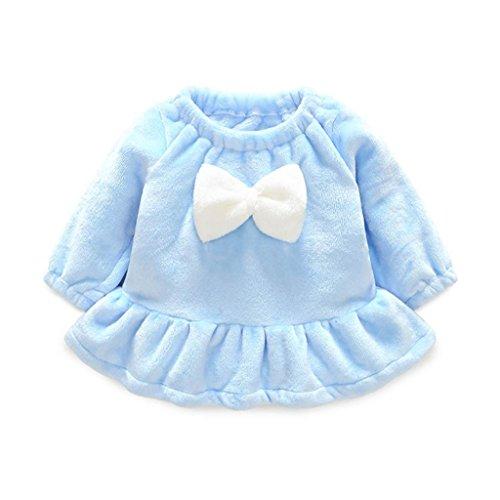 OverDose Kleinkind Baby Mädchen Kinder Herbst Kleidung Korallenvlies Kleider Bowknot Langarmshirts T-Shirt Mini Kleid(18 (Türkis Tutu Organza Kind)