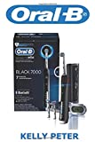 Oral-B: Oral-B 7000 SmartSeries Rechargeable Power Electric Toothbrush with 3 Replacement Brush Heads, Bluetooth Connectivity and Travel Case, Black, Powered by Braun
