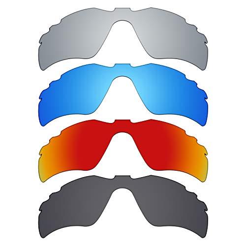 MRY 4Paar Polarisierte Ersatz Gläser für Oakley Radar Path Vented sunglasses-stealth schwarz/fire rot/ice blau/silber titan