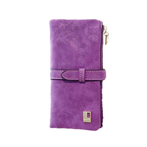 D9Q Frauen Weinlese Bi fold Reißverschluss Kordelzug Nubukleder Lange Handtasche Tasche Wallet !!purple