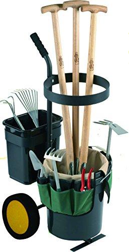 UPP Garten-Werkzeug-Trolley - Transport und Bereitstellung von Gartenwerkzeug jeder mGröße - Transportkarre/ Sackkarre bis ax. 40 kg belastbar - Gartenwagen mit 100 cm langer Griff - Werkzeugwagen inkl. praktischer Tasche mit insg. 12 Fächern