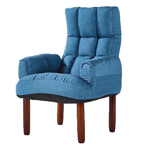 Chengzuoqing-Home Faule Couch Stuhl geknöpft Leinen Stoff Badewanne Stuhl Büro Lounge Sessel Schlafzimmer Wohnzimmer Drinnen und draußen (Farbe : Blau, Größe : 67 * 67 * 100cm) (In Polster Kabine, Stoff)