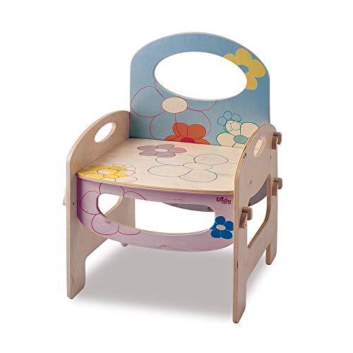 Dida - Kinderstuhl mit Rückenlehne und Armlehnen für das Kinderzimmer und den Kindergarten. Dekoration: Blumen - Sitzhöhe 28 cm, Gesamthöhe 52 cm Base 35 cm x 31 cm