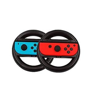 BJ-SHOP Nintendo Switch Mario Kart 8 Deluxe Lenkrad Joy-Con Racing Wheel Controller Griff Griffe fur Nintendo Ergonomic Design Schalter Mario Kart (Blau und Rot)