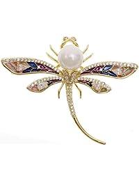 d15020616 STRIPES Dress Decoration Designer Dragonfly Design Crystal and Pearl Gold  Color Saree Pin Brooch