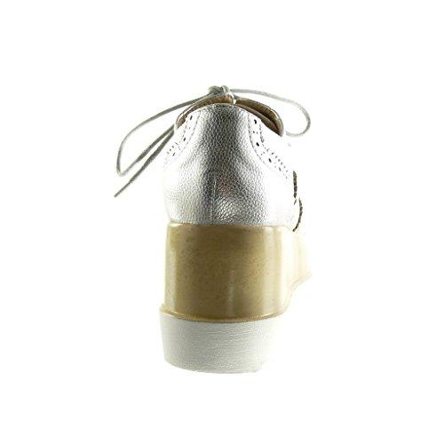 Angkorly Scarpe Donna Scarpe Brogue - Platform Shoes - Tacco A Zeppa Traforato Tacco Alto 7 Cm Argento
