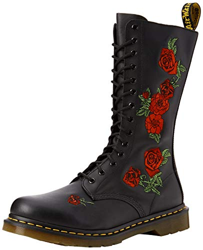 Dr. Martens VONDA Embroidery BLACK, Damen Combat Boots, Schwarz (Black), 41 EU (7 Damen UK)
