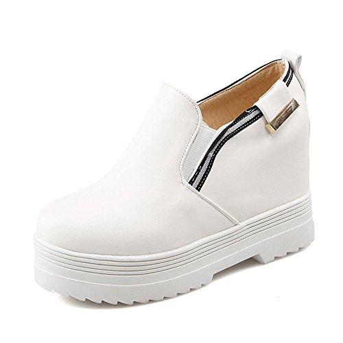 AllhqFashion Femme à Talon Haut Couleurs Mélangées Tire Rond Fermeture D'Orteil Chaussures Légeres Blanc