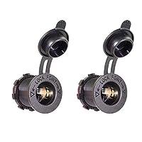 2pack Universal 12V-24V Waterproof Power Outlet Adapter Plug for Waterproof Marine Boat Car Motorbike Cigarette Lighter, black