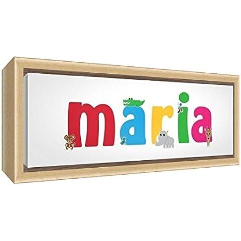 Feel Good Art lienzo con Solid enmarcado Caja Madera Natural Surround en nombre de bonito diseño de ilustración niña (34x 88x 3cm, grande),
