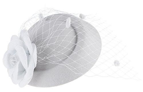 GEMVIE Damen Fascinator Hut Blumen Mesh Pillbox Hut Mini Hut Weiß (Mini-hüte Für Frauen)