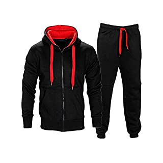 Love My Fashions Mens Contrast Fleece Hooded Top Bottoms Tracksuit Black/Red